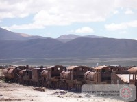 Rusting engines lined up in 'Cementerio de Los Trenes' - Uyuni, Bolivia